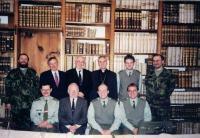 Minister Dus bottom row 2nd left, military chaplains and church representatives, military chaplaincy, Kostelní Vydří 2001