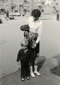 The wife Anna with their children, Brno 1973
