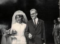 Anna and Jaromír Dus, their wedding photo, Staroměstská Town Council, Prague 1966
