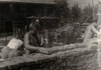 Jaromír´s brother left, youth voluntary work, building the church at Kdyně, about 1958