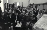 Minister Dus preaching to the congregation in Prague Vršovice, about 1969