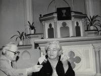 Sister Gerta Figulusová (born 22nd December 1912), descendant of Comenius, with Minister Dus, Prague Vinohrady 14th April 1992