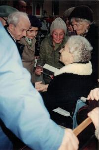 Sister Gerta Figulusová  descendant of Comenius, visiting the Vinohrady Congregation, Prague 14th April 1992
