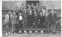 At secondary school - Mr. Hradec in the second row, to the left of the professor