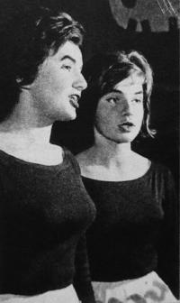 """""""Rain Gutter Theatre"""" (Divadélko pod okapem) - 1962, Věra Manová and Zuzana Majvaldová"""