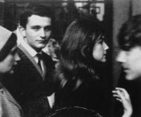"""Rain Gutter Theatre"" (Divadélko pod okapem) - one of its founders Luděk Nekuda, photo taken during the journey to a festival in Zagreb in 1964"