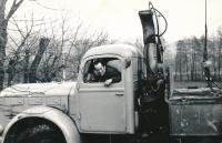 Miroslav Hampl as a driver in construction company (1960)