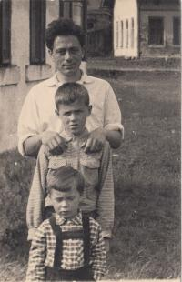 Asaf with his sons, bigining of 60s
