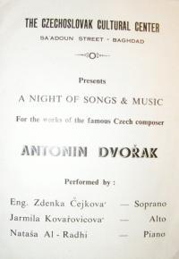 Invitation to Kovařovicová's concert in Baghdad
