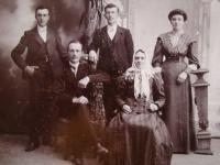 Vladimír Ficek (in the left side) with his parents and siblings, 1908