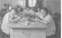 Dental laboratory, Slávka Ficková at the back, Chomutov 1948