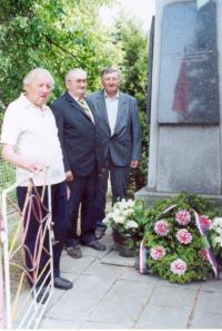 Alexandr Štípek in front of memorial