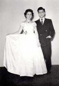 1957; at a ball with his future wife