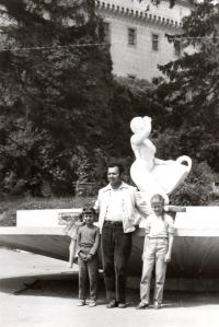 1973; on holiday with his daughters