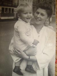 Wife Libuše with her son before Vojtěch Klečka´s  arrest