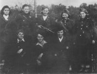 The female members of the Jan Žižka brigade in 1944 (from left): Anna Koláčková, Marie Bartošová( Králová), Otýlie Záhorová. Standing from left: Milka Bastagová, Anka Frštegová, Marie Švantková, Růžena Hynková, Františka Vávrová
