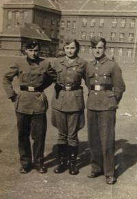 In Prague, 1945- from left: Jaroslav Vosáhlo (a cousin), Marie Králová, Mirek Jarý (her brother)