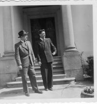 Jan Vinš, a fellow university student, and Alois Frank in front of Professor Kolda's villa in Doubravník