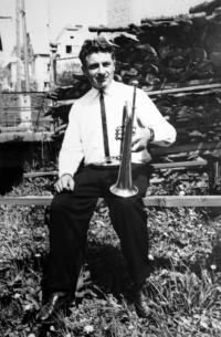 Antonín Drong with trumpet