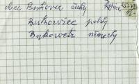 """""""Bukovec"""" in Czech, Polish and German, which Mr. Drong had to write to be released from internment in Přerov"""