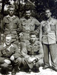Antonín Drong in the army, sitting at right