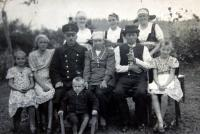 Mr. Drong's family, grandfather with pipe and father in railway uniform