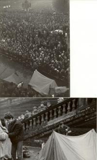 1969, leden, tryzna za Jana Palacha, hladovka pod Muzeem