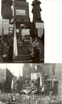 1969, leden, tryzna za Jana Palacha u sochy Sv. Václava