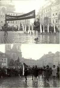 1969, leden, tryzna za Jana Palacha, smuteční průvod na Staroměstském náměstí, na snímku dole budoucí herečka Andrea Čunderlíková