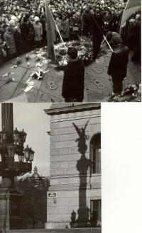 1969, leden, tryzna za Jana Palacha, nahoře Václavské náměstí, dole Náměstí Jana Palacha