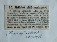 Newspaper cutting informing of the discovery of Věra Vokatá