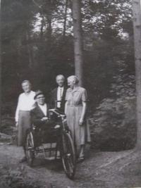 In the front: her father Frank and her mother Emílie - internment camp Mohelnice-1950