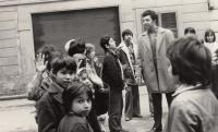 With a Roma scout club, 1975
