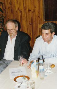 With the Romanist Pavel Pekárek, early 1990s (L. Goral to the rigth)