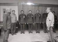 Soviet military council at Milan Václavík, Czechoslovak Minister of Defense