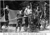Camp of Rains, 1961, Small Bear on the left, Orko, Gray Wolf, Falcon Eye and Flying Arrow