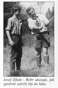 Josef Zikán - demonstrating how to shoot a bow