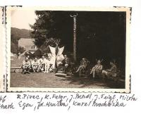 The district forest school of the Jiráskova region - August 1946 - R. Pivec, K. Felgr, J. Bendl, J. Feigl, Milota, Egon, Zd. Hruška, Karel Procházka