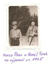 Honza Tůma and Kamil Turek at an expedition in 1945