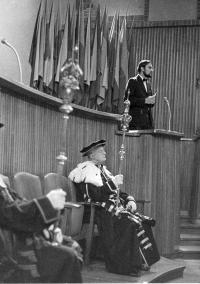 Tomáš Halík during his graduation ceremony at Prague's Charles University in 1972
