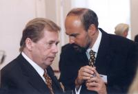 Tomáš Halík with Václav Havel at the Prague Castle in 1999