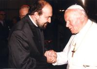 Tomáš Halík with the pope John Paul II. in 1997