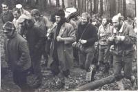 Rabstejn, October 28, 1970, meeting of mountaineers, František Srovnal to the right carrying a guitar from a friend