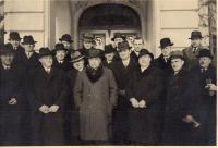 Party of National Unity (Národní souručenství) E. Hácha in the middle, 1st row from right: Malypetr, his uncle Jindřich next to him