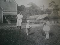 With mother and sister, Lochovice 1933