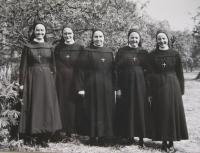 The provincial administration of the Congregation of Sisters of Charity of the Holy Cross in 1971: S. Alena Tkadličková, S. Pavla Křivánková, S. Salesie Bínová, provincial superior S. Benediktína Horáková, S. Bernadette Růžičková