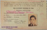 Travel permit of British Comitee for children Prague