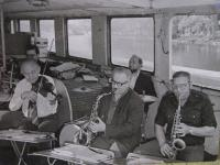 Music band on a steamboat, around 1978