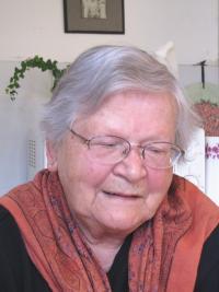 Věra Bořkovcová, née Krejcárková, during the interview in 2011