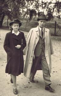 Věra Bořkovcová, née Krejcárková, with her brother Jaroslav in 1945